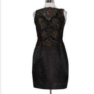 Carmen Marc Valvo- Black & Gold Lace Dress